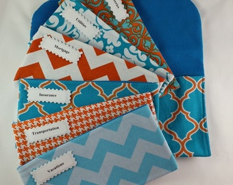 Cash Envelope Wallet, Cash Envelopes System, Pouch and 5 to 15 Envelopes -Fynn Turquoise Orange (It can be used with the Dave Ransey System)