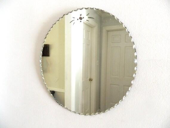 Vintage Round Etched Mirror Pie Crust Scalloped Edge