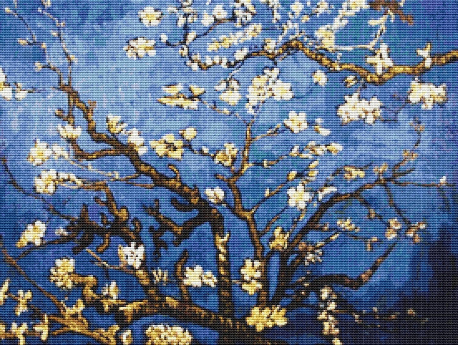 vincent van gogh cherry branches almond tree counted cross. Black Bedroom Furniture Sets. Home Design Ideas