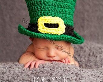 Baby Leprechaun Top Hat Paddy Green - Crochet Newborn Beanie Boy Girl Costume Winter  Photo Prop Cap Christmas Outfit