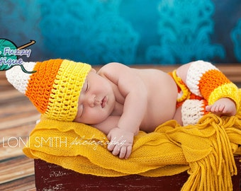 Candy Corn Hat, Diaper Cover & Leg Warmers Outfit - Baby Newborn Girl Boy Costume Halloween Preemie Christmas Thanksgiving Photo Prop Winter
