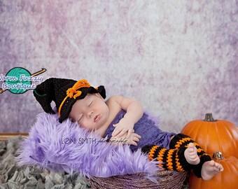 Baby Halloween Witch Hat & Leg Warmers - Crochet Newborn Boy Girl Christmas  Photo Prop Cap Outfit
