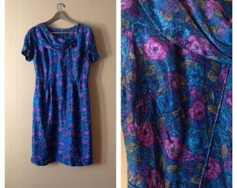 Garden Tea Silk Dress 1960s L/XL