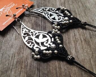 Big elven boho chic Macrame bohemian earringsjewelry by Mariposa bohemian wear gypsy woodland