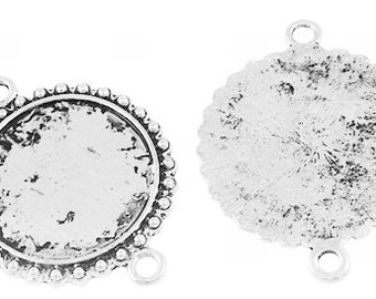 FREE SHIPPING within USA, 8 pcs Antique Silver Round Cabochon Connector, inner tray 23mm