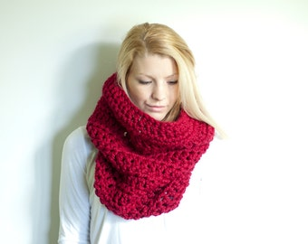 the CHEROKEE cowl - chunky cowl scarf hood circle scarf - cranberry red - slightly ribbed