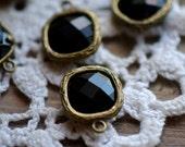 Wholesale Lot - Square Jewel Charms JET BLACK Drop Gem Jewels Square 12mm Antique Bronze Plated Brass Bezel Opaque Black (AW026)