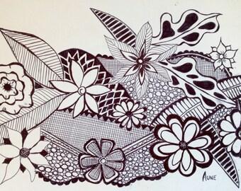 Original Black Ink pen flower doodle drawing 4