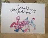 Handmade Printed Card - Friends heart