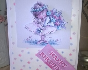 Girls Happy Birthday 3D Card, Happy Birthday  Hand Made Card