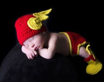Crochet Flash Inspired Costume/Outfit/Photo prop set, hat, booties, diaper cover