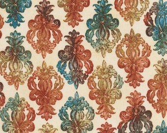 Robert Kaufman Fabric - Marquis - Floral Bouquet Medallions - Peacock - Choose Your Cut 1/2 Yard or Full Cut