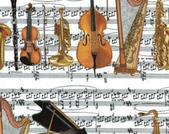 Benartex Fabric - Concerto - Orchastra Stripe - White