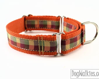 "Fall Plaid / Orange Tartan Dog Collar / 1"" (25mm) Wide / Martingale or Quick Release Dog / Choice of style and size / Autumn / Thanksgiving"