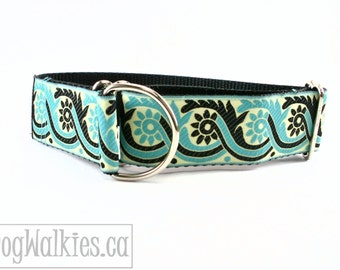 "Rhapsody in Teal Dog Collar - 1.5"" (38mm) Wide - Choice of collar size and style - Wide Martingale or Side Release - Black - Aquamarine"