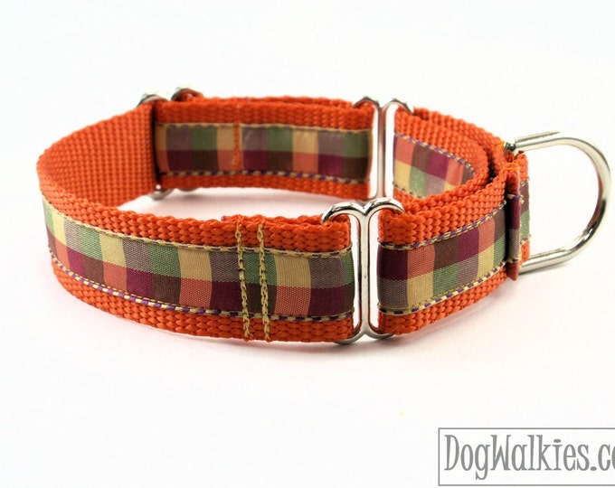 "Featured listing image: Fall Plaid / Orange Tartan Dog Collar / 1"" (25mm) Wide / Martingale or Quick Release Dog / Choice of style and size / Autumn / Thanksgiving"