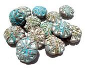 SUPPLY: 14 LARGE Rustic Terra Cotta Beads - Ceramic Beads - 22mm - (9-B3-00004012)