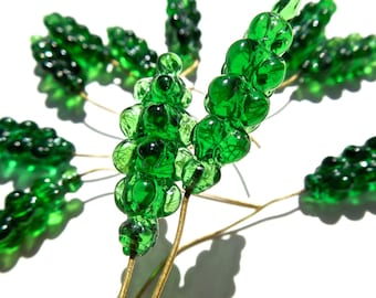 VINTAGE: 8 Cluster Glass Headpins - Embedded Brass Wire Glass Drops - (4-A1-00003248)