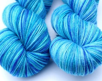 """Kettle Dyed Sock Yarn, Superwash Merino, Nylon and Silver Stellina Fingering Weight, in """"Pool"""""""