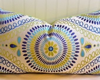 IN STOCK / Blue, Lime Green, Turquoise  Mosaic Pillow Cover / 14 X 24 / Clardige Designer Upholstery