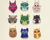 Owl Stickers set of 9, 06
