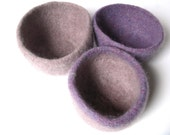 SALE - WOOLY FELTED Bowls - three felted nesting bowls - lilac and sand