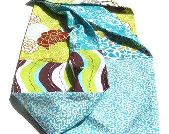Love me TWO TIMES scarf cowl - double-sided, infinity, fabric, printed, floral, patterns, blue, green, lime, white, brown