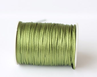green Rattail Cord, Knotting cord, 2.5 mm green Satin cord,  Beading cord, Jewelery supplies, cord for bracelets,10 meters (11 yards)
