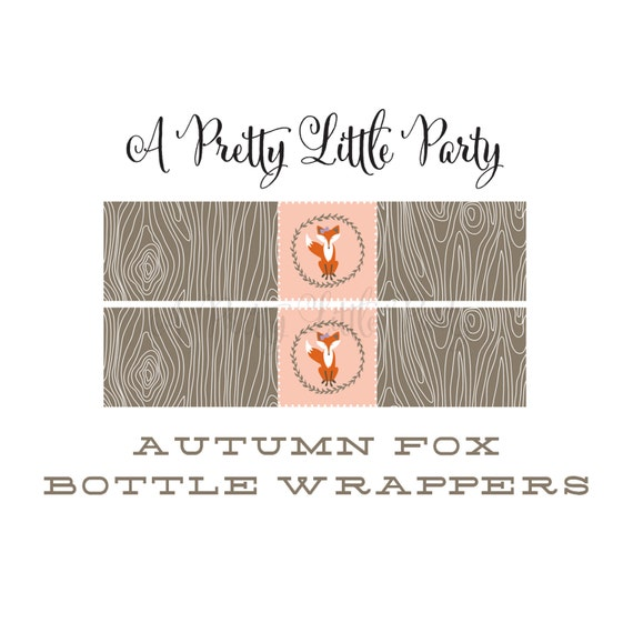 FOX Bottle Wrappers  - Woodland Fox Digital files - Party Supplies - INSTANT DOWNLOAD