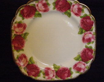 Royal Albert Old English Rose Square Salad Plates, Replacement China, ca. 1935-1940