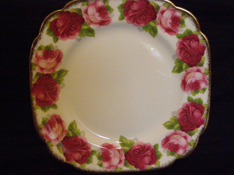 Royal Albert Old English Rose Square Salad Plates, Replacement China, ca. 1935-1940