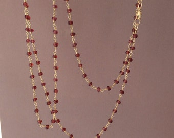 Long or Short Red Garnet Stone Gold Beaded Necklace