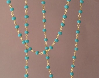 Long or Short Turquoise CHALCEDONY Stone Gold Beaded Necklace