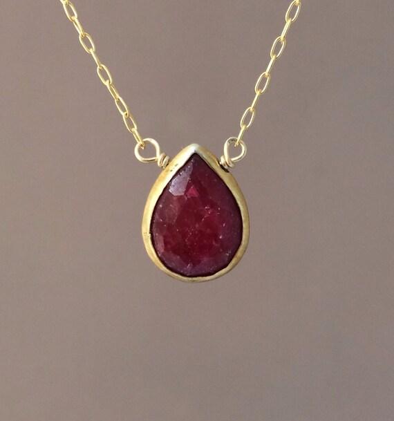 Red Ruby Stone Bezel Set Gold Necklace