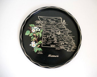 Vintage Missouri State Tray Souvenir Tray Black Metal Serving Platter