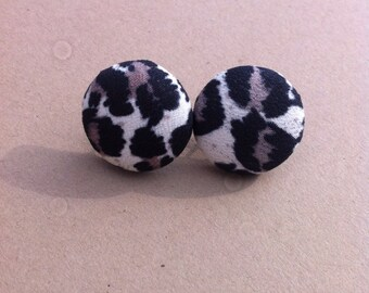 Leopard fabric cover button earrings