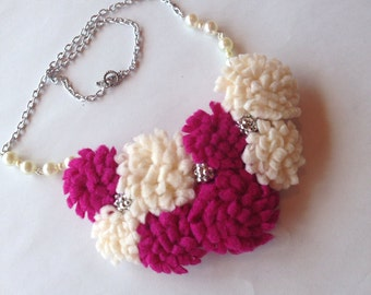 Pink / Fuchsia White Flower Bib Necklace