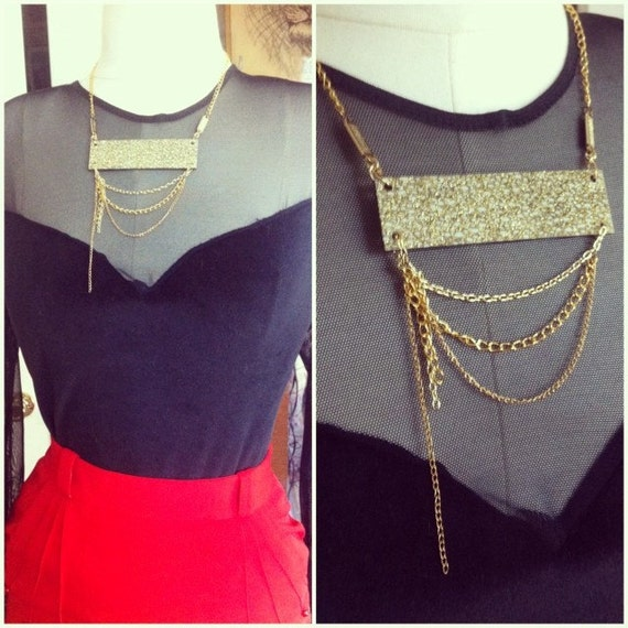 Gold Sparkle Acrylic and Chain Necklace