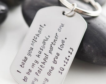 Personalized Key Chain, Hand stamped key chain, Gift for Him, Wedding Gift