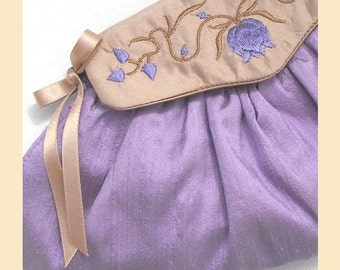 wedding purse in silk with embroidered flowers and leaves, available in violet, mint or rosy lilac, with optional personalisation