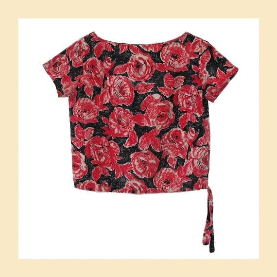 Vintage 1960s top with floral print in red, grey and white cotton, shell top, UK size 10