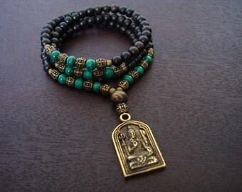 Women's Malachite Shiva Shakti Mala - Necklace & Wrap Bracelet - Yoga, Buddhist, Prayer Beads, Yoga Jewelry