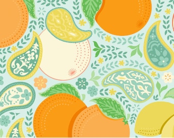 Clementine Blossom in Blue  - Clementine by Ana Davis for Blend Fabrics - 1/2 yard, Add'l Avail