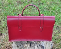Traditional handmade burgundy red leather sheet music bag or laptop case