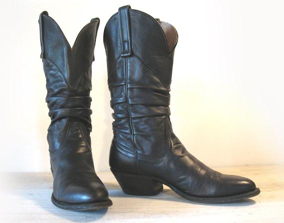 vintage cowboy boots nocona black leather slouch boots