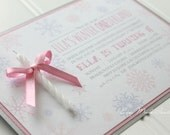 Pink Winter ONEderland Invitation with Candle for a Girl