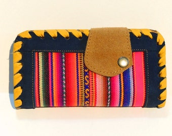 Handmade Hobo Women's Genuine Multicolored Suede Leather Wallet
