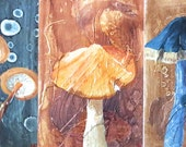 5 Mushroom Paintings, Series of 5, Small Original Acrylic on Panel Paintings.