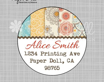 "Fun and Flirty Flower Circle Labels - Red Gold and Light Blue - 2"" Circle Address Labels - Design: Happy"
