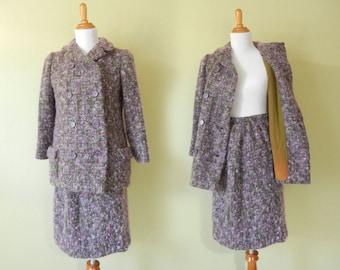 SALE! Vintage 1960's Suit    I. Magning Purple Women Suit     Purple Boucle 60's Wool Suit